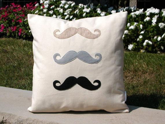 Mustache Men's Handmade Pillow