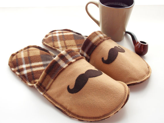 Mens Mustache House Slippers - MoJos Cozy Toes