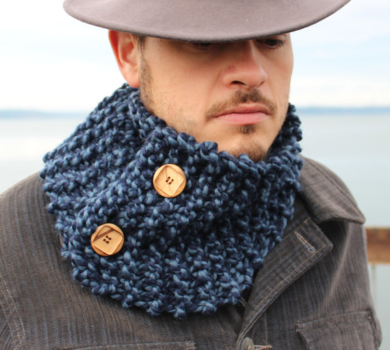 Mens Blue Handmade Cowl Scarf - Gypsea tree
