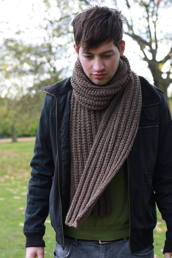 Easy Scarf Knitting Patterns For Men : Hot Picks! Mens Handmade Scarves