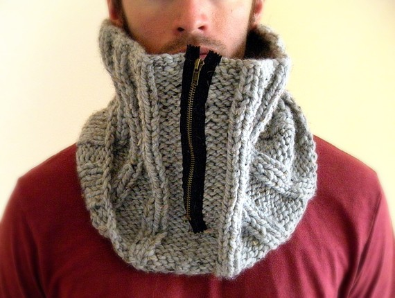Men's Hanmdade Cowl With Zipper - Kitty Dune