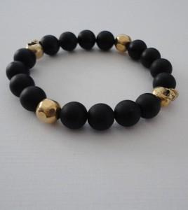 Handmade Mens Bracelet Skull Onyx