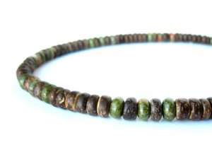 Wood And Gemstone Mens Necklace