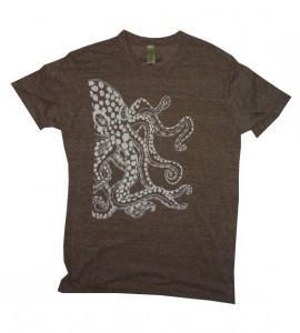 mens handmade t-shirt octopus