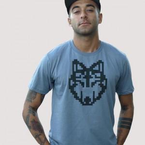 pixel wolf shirt - mens handmade
