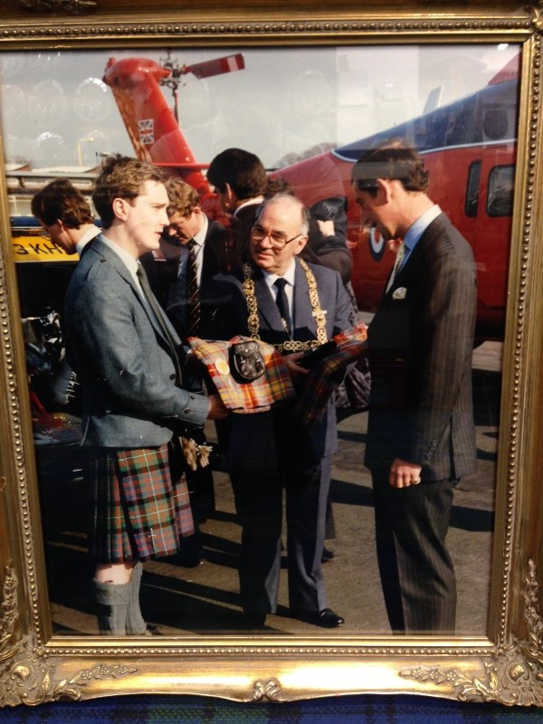 Ken Presenting Kilts to HRH Prince Charles