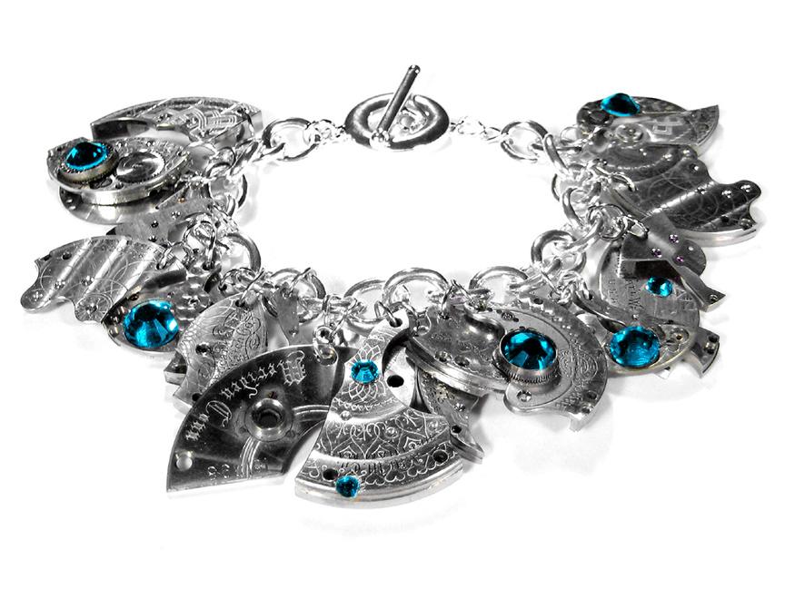 Bracelet_SilverWatchPartsDanglesTurquoiseSwarovskiCrystals5