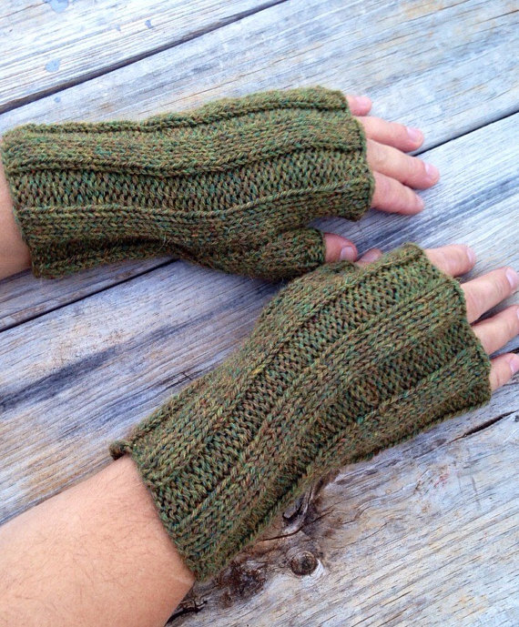 Men's fingerless, gloves, fingerless mitts, hand knit gloves, BACKCOUNTRY glove, alpaca/wool blend, arm warmer, wrist warmer, men's gloves
