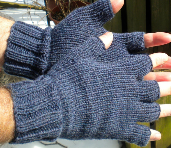 Half Finger Gloves Men's Blue Texting