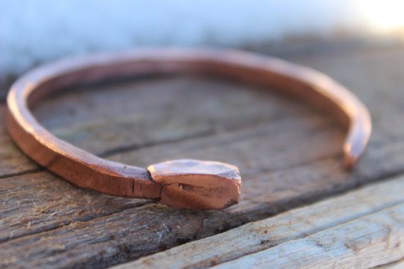 Mens Nail Bracelet, Copper Cuff, Custom Handmade
