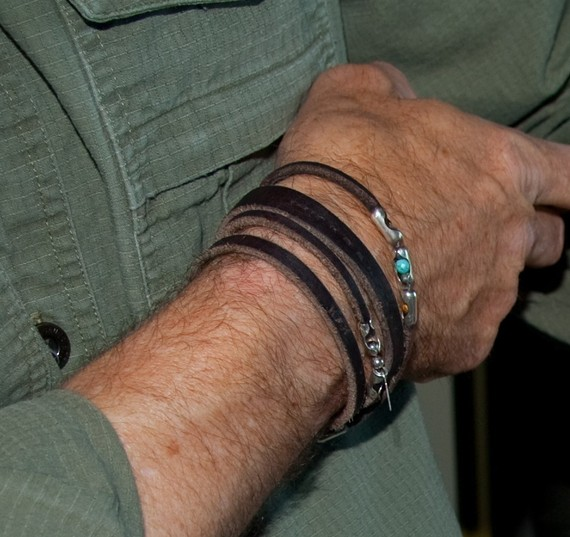 Spiral Jetty, Mens Leather Bracelet,