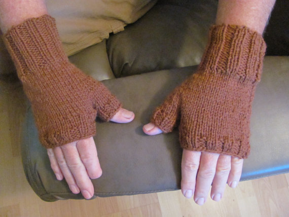 Mens Fingerless Gloves Caramel Brown L to XL