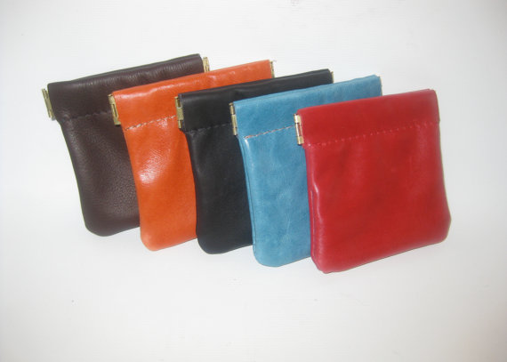 Leather Coin Pouch/ Change Purse/ Squeeze Frame Coin Case
