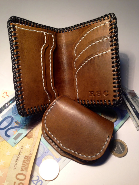 Rustic wallet with coin purse