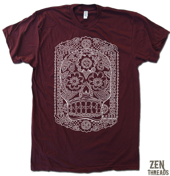 Mens DAY Of The DEAD american apparel T-shirt