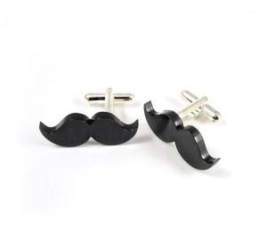 Handmade Mustache Cufflinks - Misty Aurora