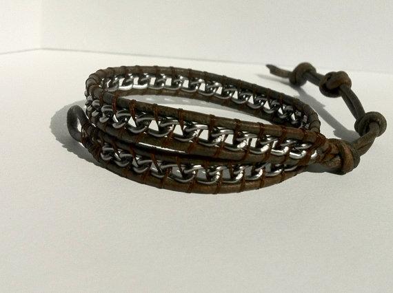 Leather Mens Handmade Ankle Bracelet