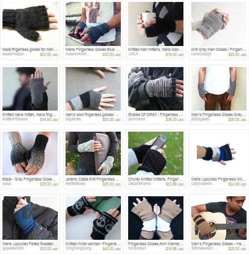 handmade fingerless gloves for guys