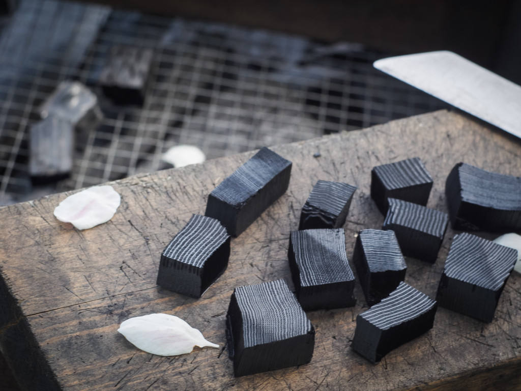 chopping charcoal (sumi-kiri) made from old growth fir scraps