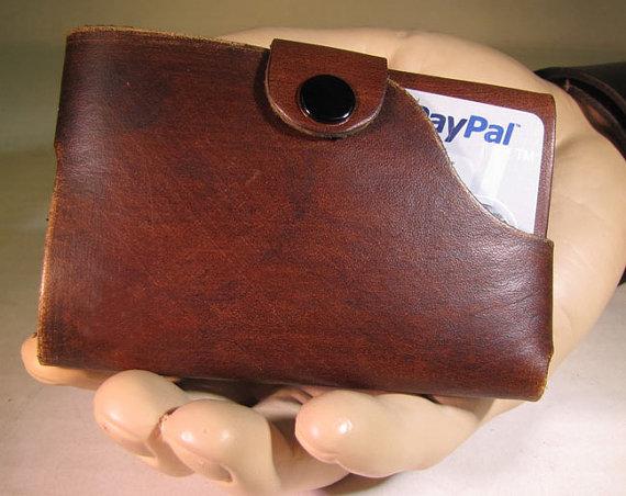 Mens wallet - One piece slim cardholder w/o money clip