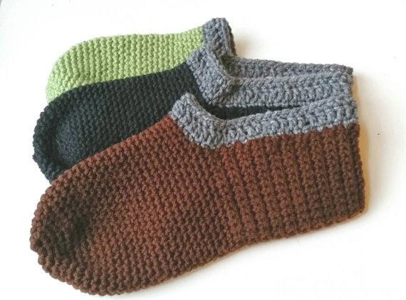 Crochet Men's Slippers - 3 Color Options