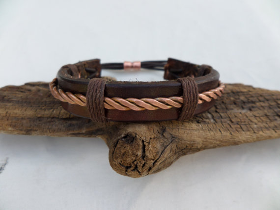 Leather and Copper Bracelet, Men's