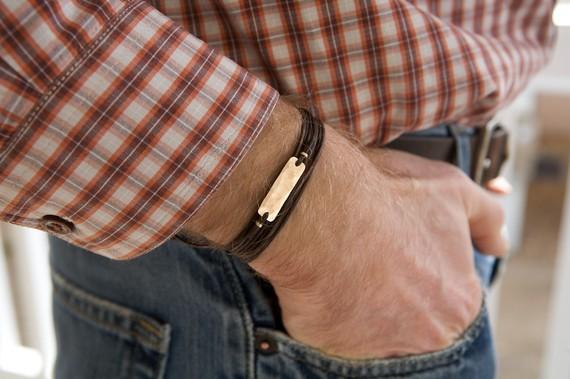 Men's Leather Bracelet Man's Bronze