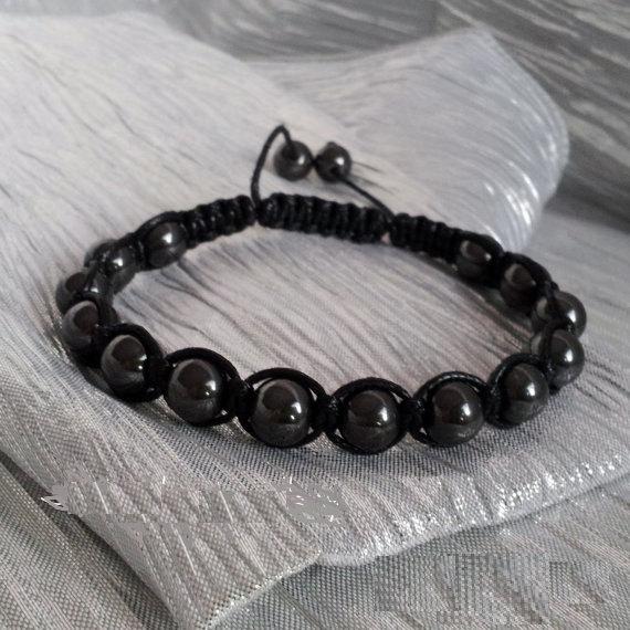 Mens Hematite Shamballa Bracelet