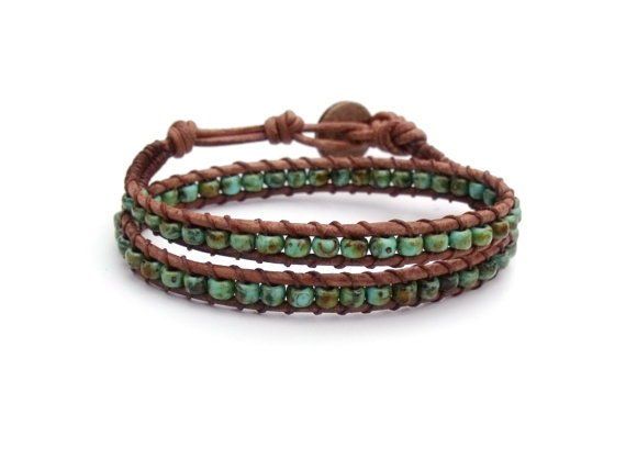 Turquoise Blue Green Leather Bracelet