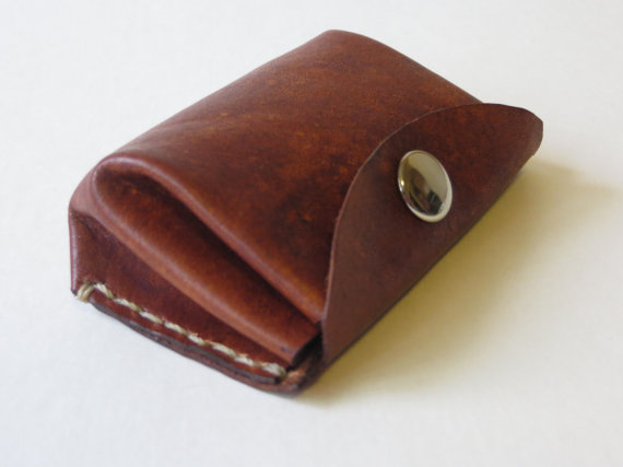 Hand made leather change purse, Leather coin purse