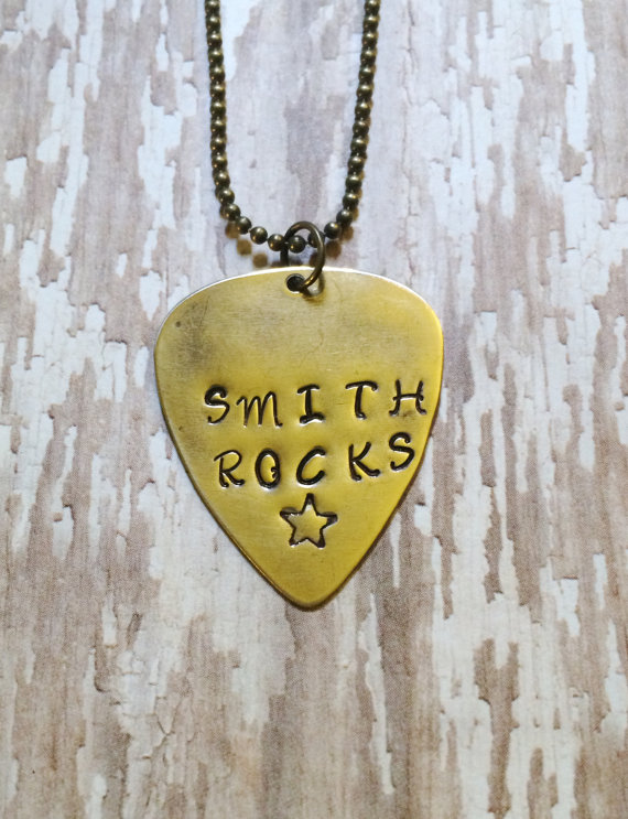 Hand Stamped Personalized Guitar Pick Necklace