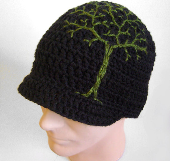 Mens Brimmed Beanie with Tree Design - Black and Green Cotton