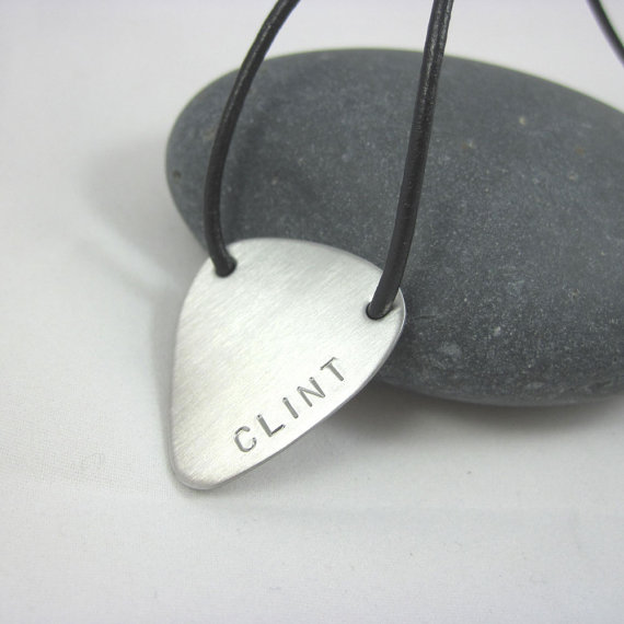 Personalized Guitar Pick Necklace Leather Cord Custom Guitar Pick Stainless Steel Guitar Pick