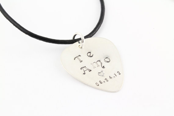 Personalized Guitar Pick Necklace, Sterling Silver Guitar Pic Necklace