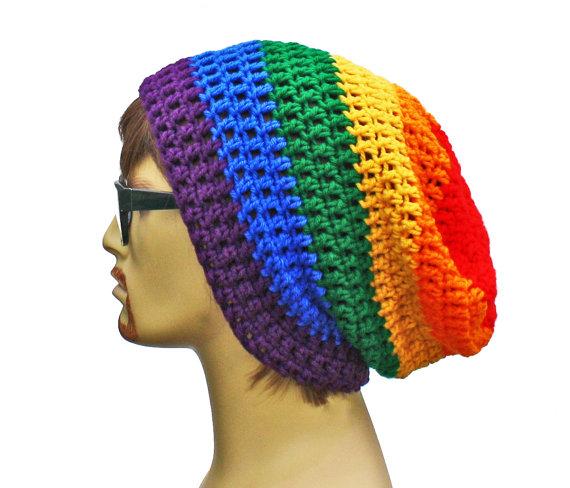 Rainbow Beanie - Slouch - Mens