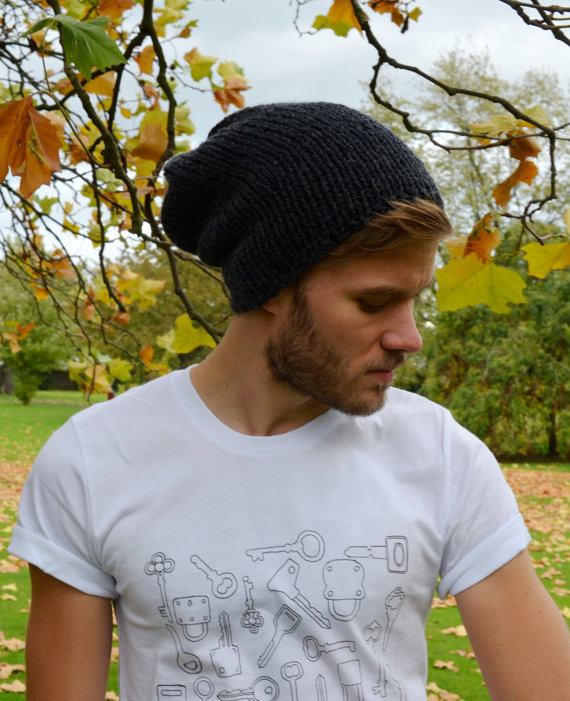 Anthracite Men's Slouchy Beanie Hand Knit Hat for Men