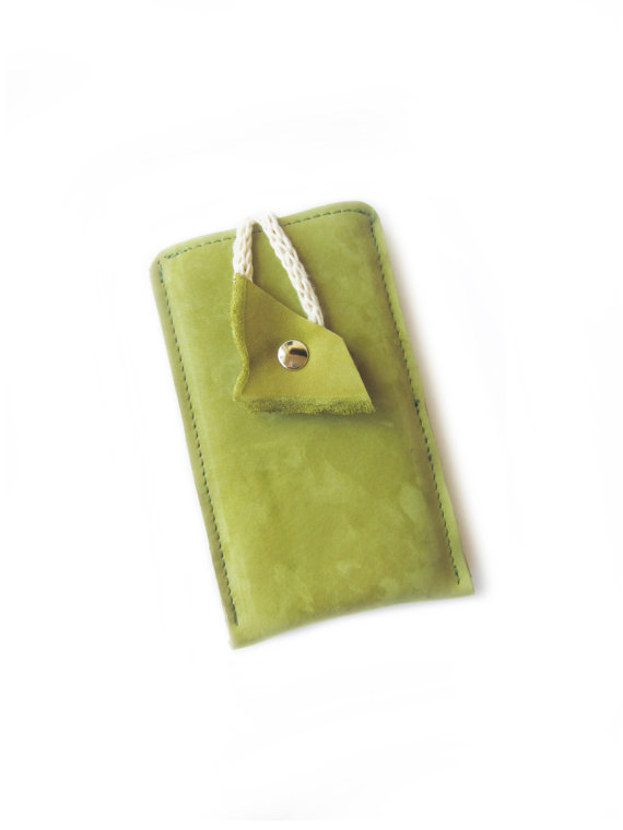 cellphone case green leather